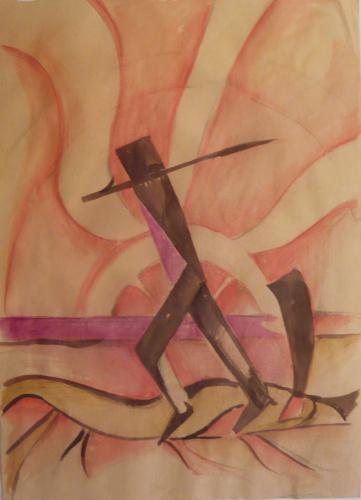 """Sassu Aligi  - Figura Futurista  ( prob. Studio per """"Il ritorno 1927"""" )"""
