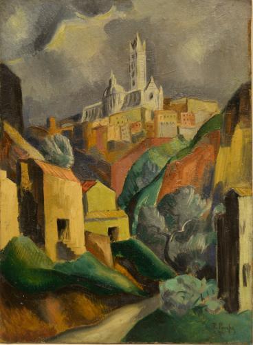 PARESCE RENATO - PAESAGGIO CON CHIESA 1921