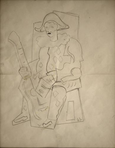 SEVERINI GINO - ARLECCHINO SEDUTO CON CHITARRA 1934/35