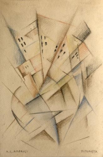 AMBROSI ALFREDO  - PAESAGGIO FUTURISTA 1930