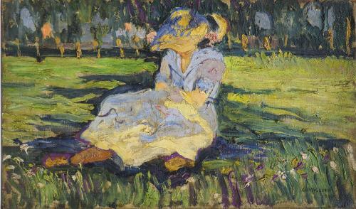 CAVAGLIERI MARIO - FIGURA SUL PRATO ( LA MOGLIE )  1908