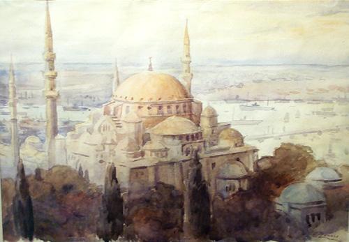 Fausto Zonaro - Moschea a Costantinopoli