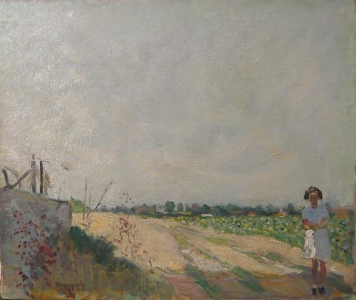 MOGGIOLI UMBERTO - STRADA CON FIGURA 1912